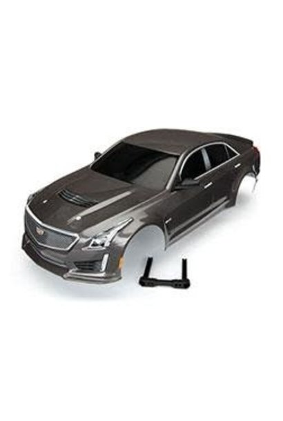 Body, Cadillac CTS-V, silver (painted, decals applied)