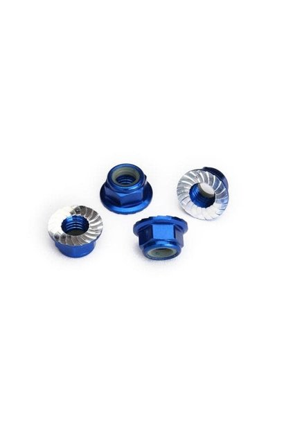 Nuts, 5mm flanged nylon locking (aluminum, blue-anodized, serrated) (4)