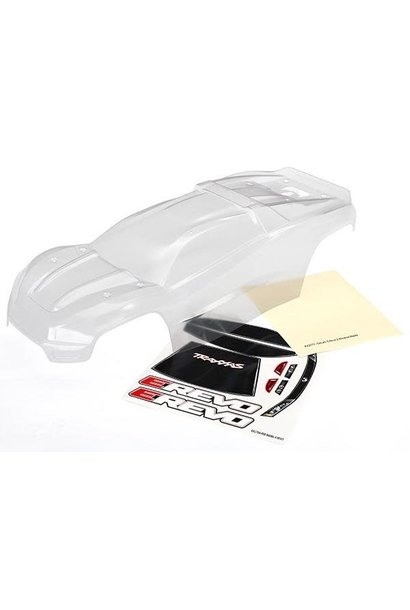 Body, E-Revo (clear, requires painting)/window, grill, lights decal sheet