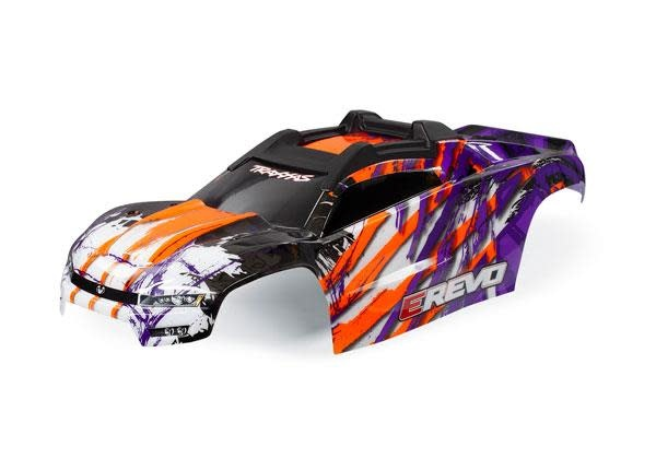 Body, E-Revo, purple/ window, grille, lights decal sheet (assembled with front & rear body mounts and rear body support for clipless mounting)-1