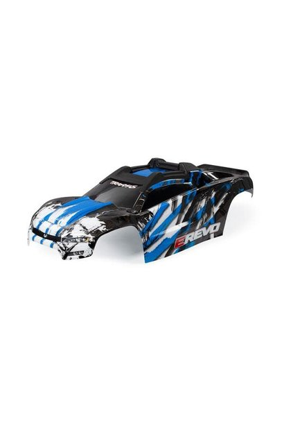 BODY, E-REVO, BLUE/ WINDOW, GRILLE, LIGHTS DECAL SHEET (ASSEMBLED WITH FRONT & REAR BODY MOUNTS AND REAR BODY SUPPORT FOR CLIPLESS MOUNTING)