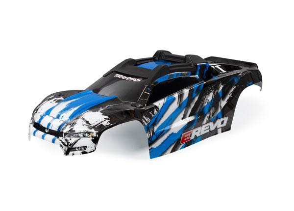 BODY, E-REVO, BLUE/ WINDOW, GRILLE, LIGHTS DECAL SHEET (ASSEMBLED WITH FRONT & REAR BODY MOUNTS AND REAR BODY SUPPORT FOR CLIPLESS MOUNTING)-1