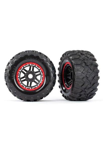 Tires & wheels, assembled, glued (black, red beadlock style wheels, Maxx MT tire