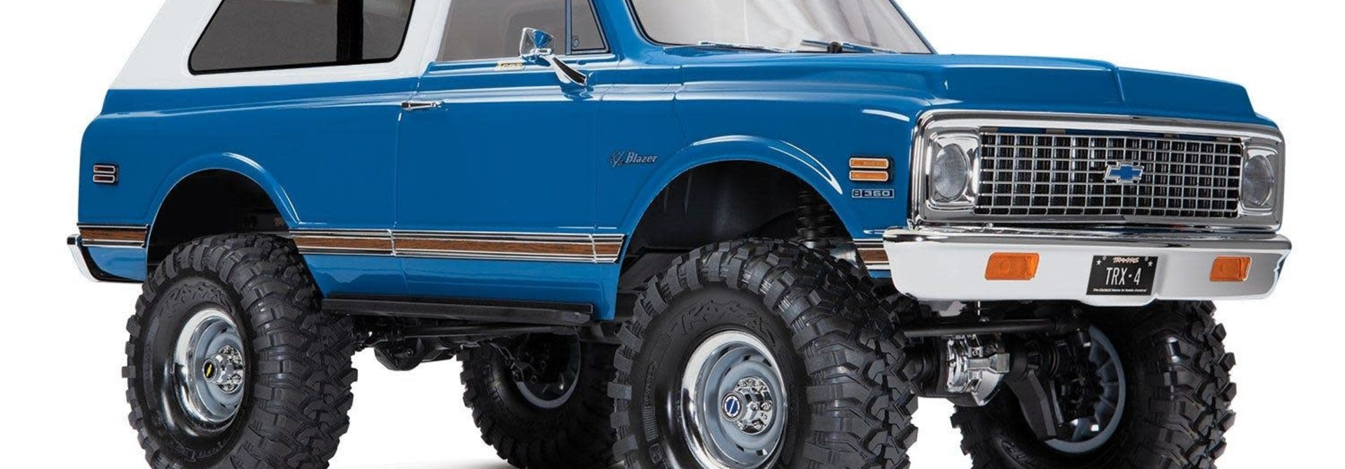 Body, Chevrolet Blazer (1972), complete (blue) (includes grille, side mirrors, door handles, windshield wipers, front & rear bumpers, decals)