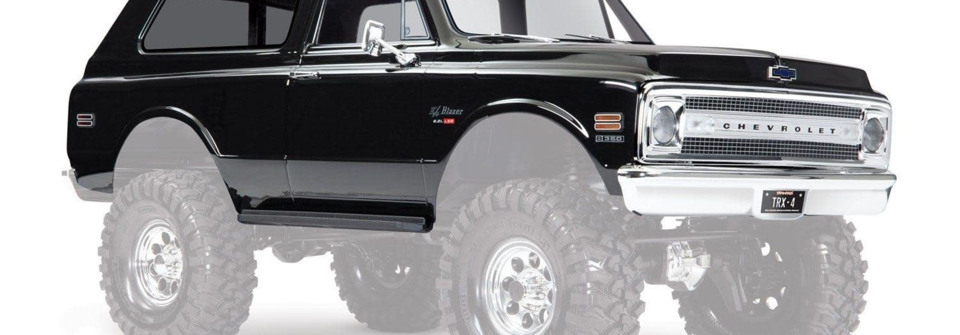 Body, Chevrolet Blazer (1969), complete (black) (includes grill, side mirrors, door handles, windshield wipers, front & rear bumpers, decals)