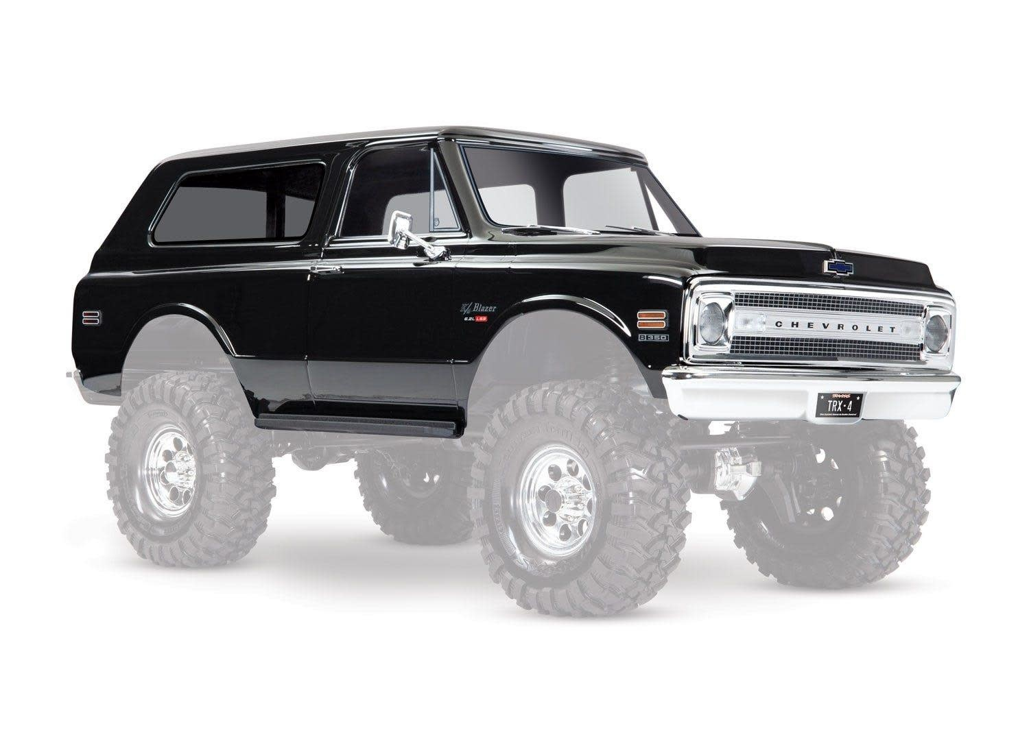 Body, Chevrolet Blazer (1969), complete (black) (includes grill, side mirrors, door handles, windshield wipers, front & rear bumpers, decals)-1