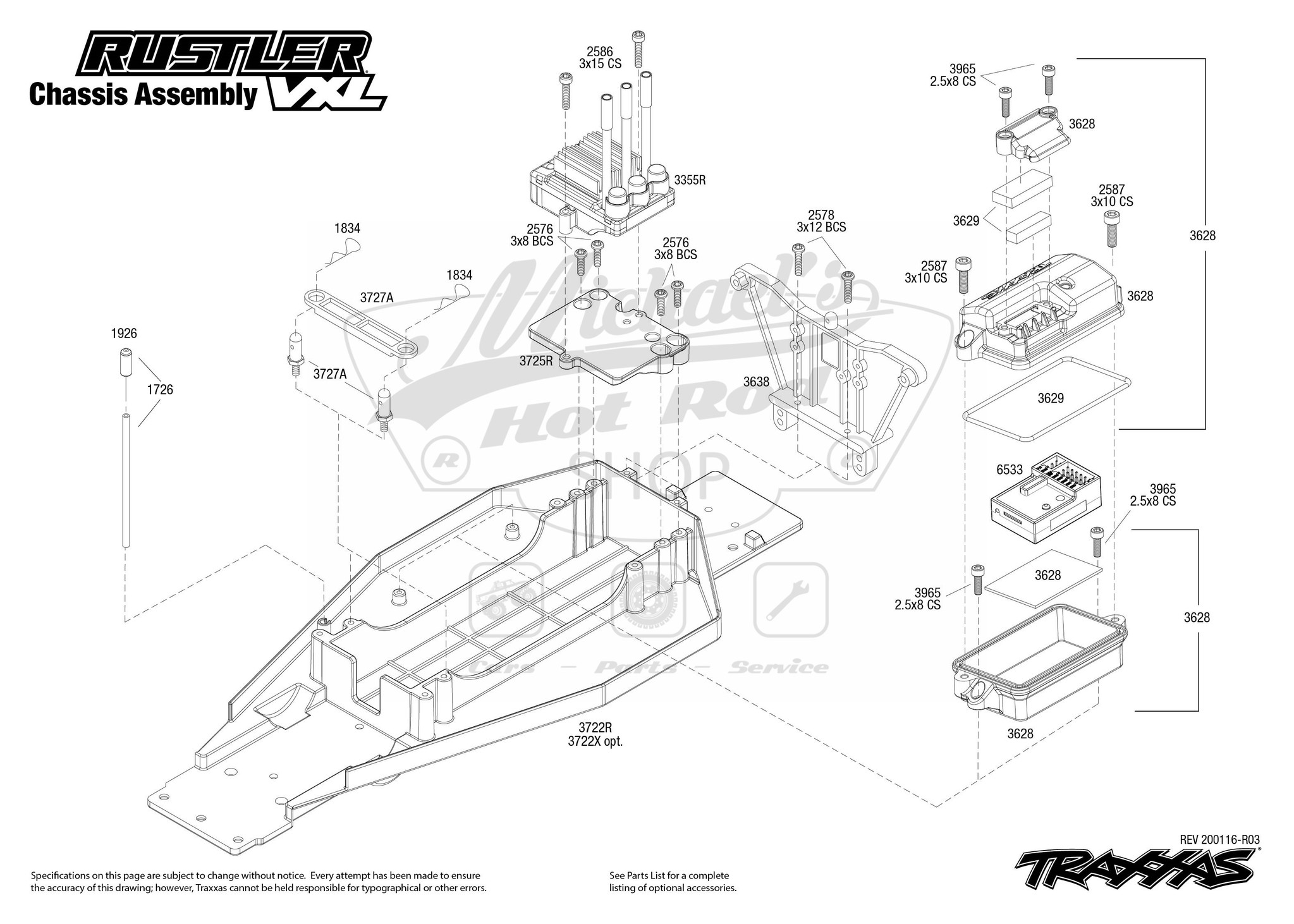 Rustler 2WD VXL Chassis Assembly