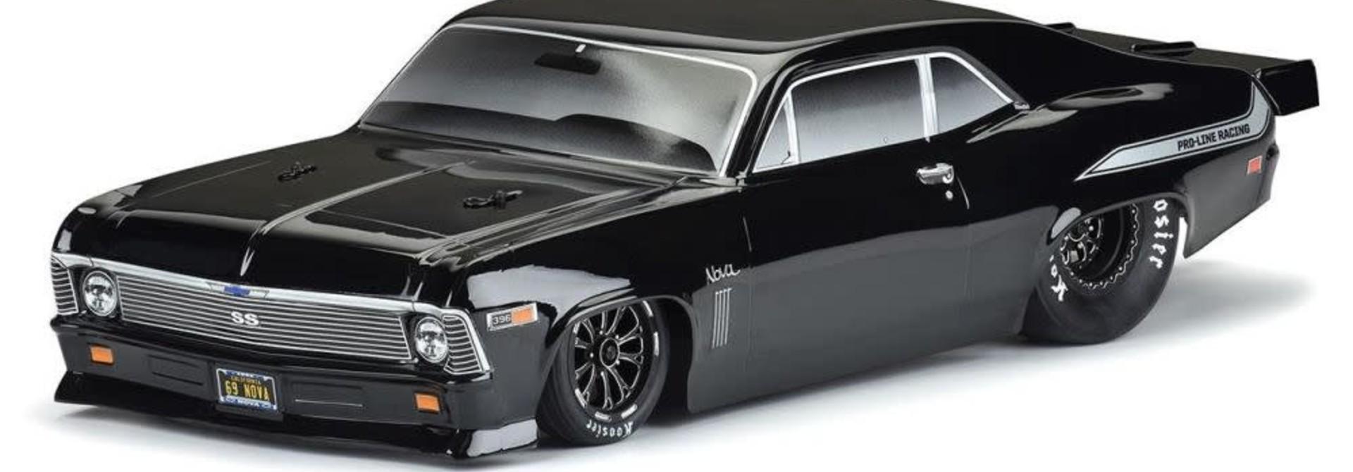 1969 Chevrolet Nova Tough-Color (Black) Body for Slash 2wd Drag Car & AE DR10