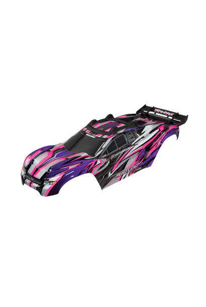 Body, Rustler 4X4 VXL, pink/ window, grille, lights decal sheet (assembled with front & rear body mounts and rear body support for clipless mounting)