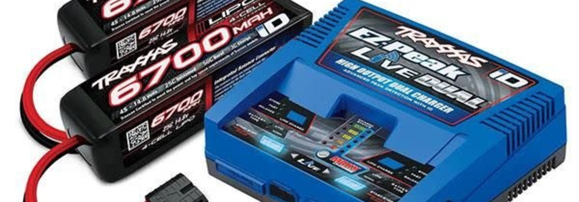 Battery/Charger Completer Pack (Includes #2973 Dual Id Charger (1), #2890X 6700Mah 14.8V 4-Cell 25C Lipo Battery (2))