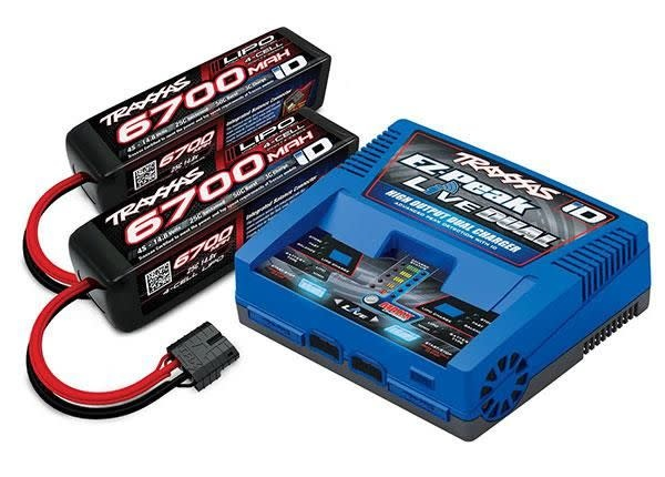 Battery/Charger Completer Pack (Includes #2973 Dual Id Charger (1), #2890X 6700Mah 14.8V 4-Cell 25C Lipo Battery (2))TRX2997G-1
