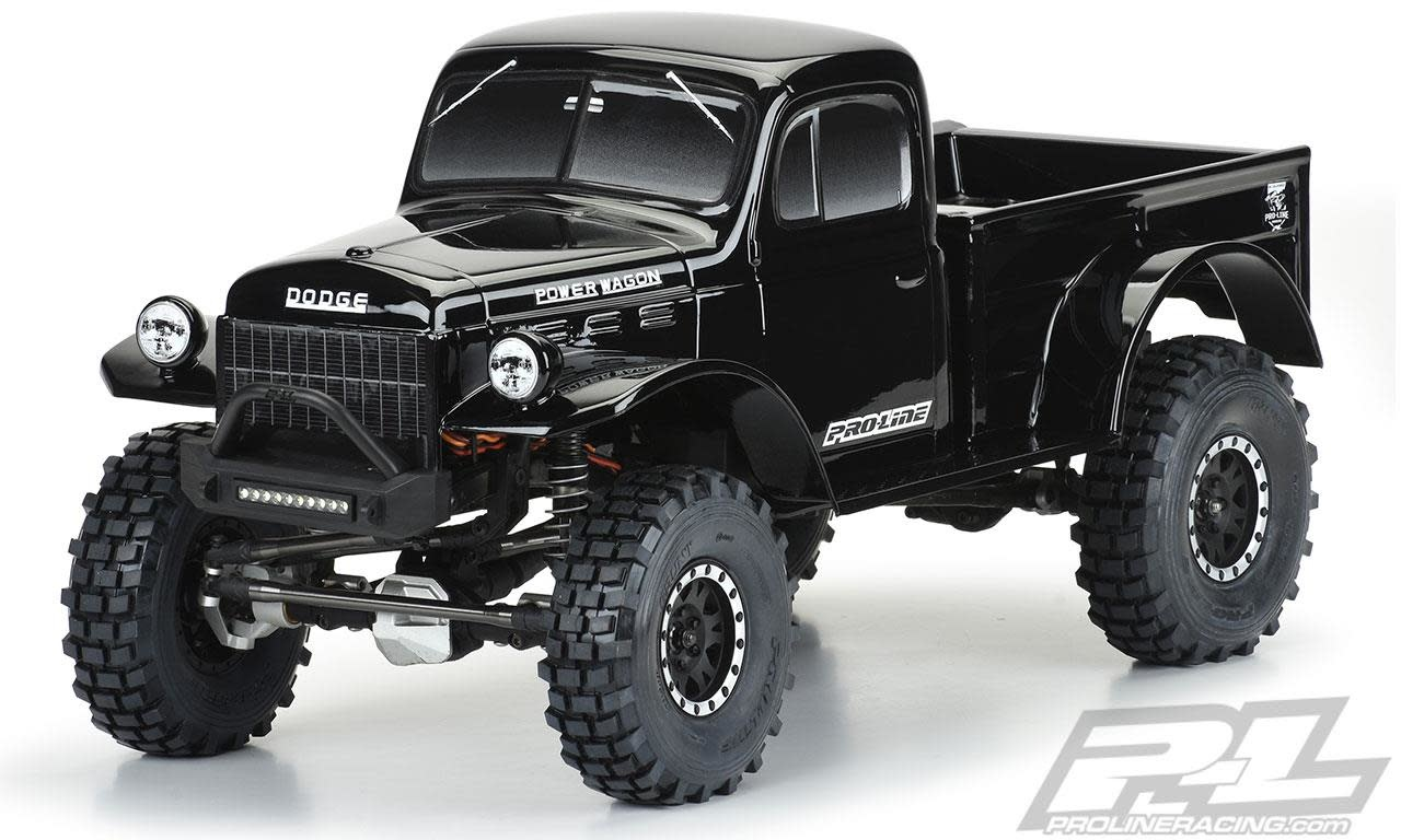"1946 Dodge Power Wagon Tough-Color (Black) Body for 12.3"" (313mm) Wheelbase Scale Crawlers-1"