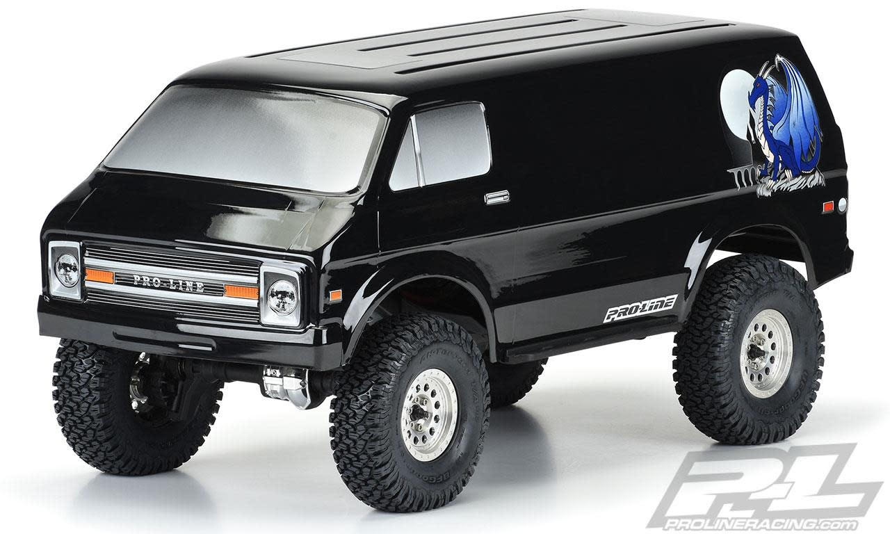 "'70s Rock Van Tough-Color (Black) Body for 12.3"" (313mm) Wheelbase Scale Crawlers-1"