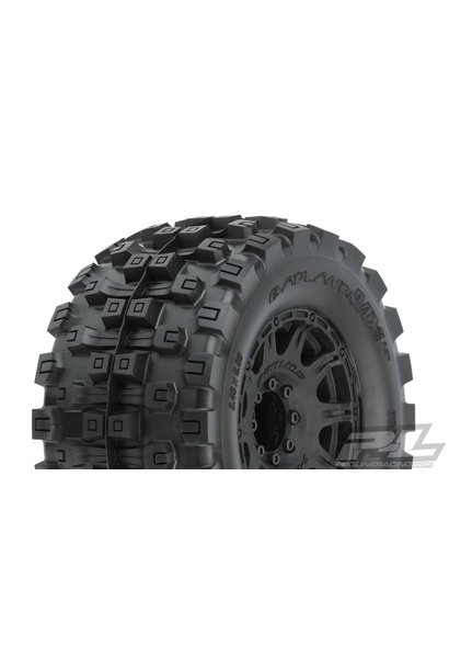 "Badlands MX38 HP 3.8"" All Terrain BELTED Tires Mounted on Raid Black 8x32 Removable Hex Wheels (2) for 17mm MT Front or Rear"