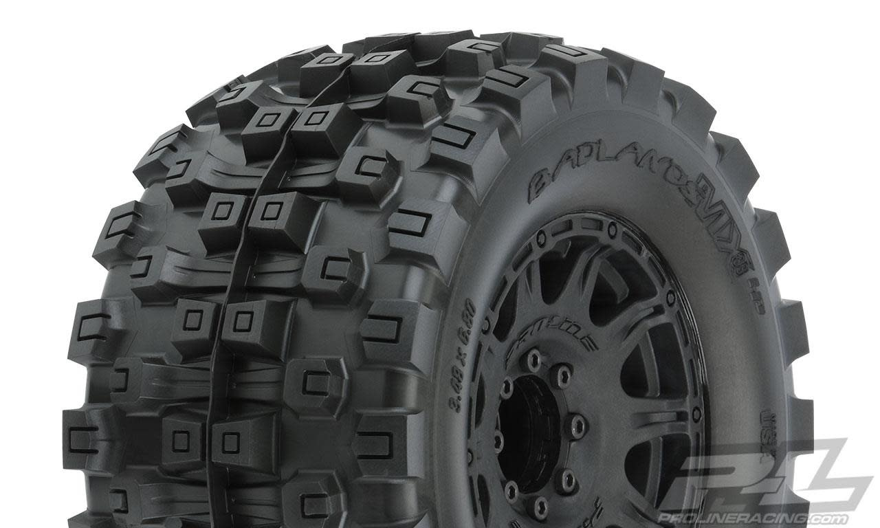 "Badlands MX38 HP 3.8"" All Terrain BELTED Tires Mounted on Raid Black 8x32 Removable Hex Wheels (2) for 17mm MT Front or Rear-1"