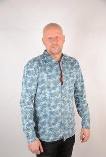 Printed Chambray Shirt Light Blue Denim 22012337