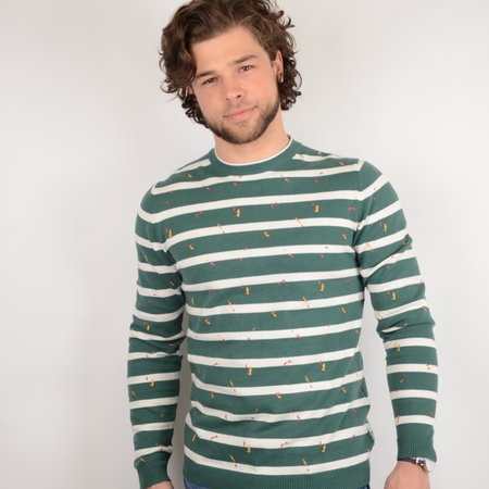 Only & Sons Onsgarson 12 Striped Print Posy Green