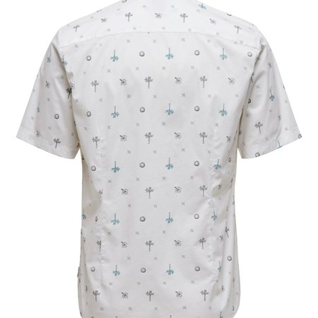 Only & Sons Onsbart Life Ss Aop Stretch Shirt Bright White 9271