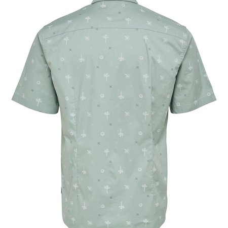 Only & Sons Onsbart Life Ss Aop Stretch Shirt Silver Blue 9271