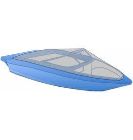Afdekzeil speedboot met drukkers