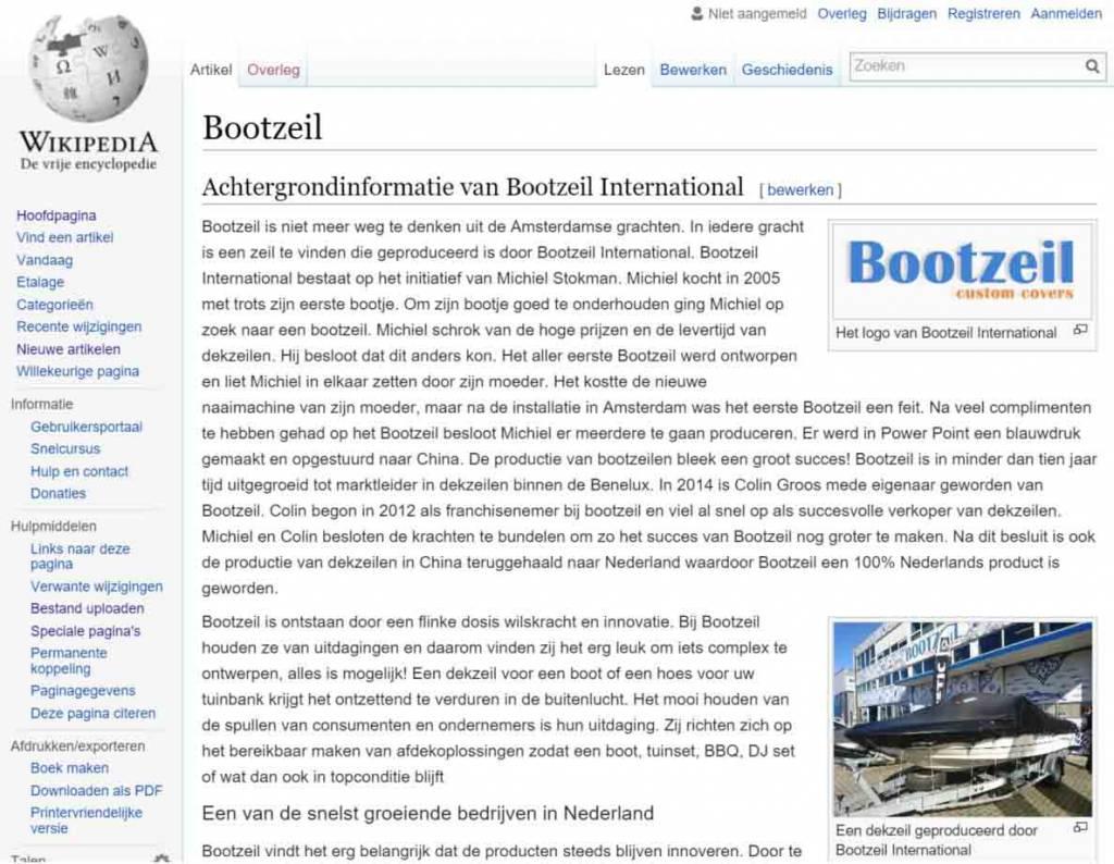 Bootzeil is nu ook te vinden op Wikipedia