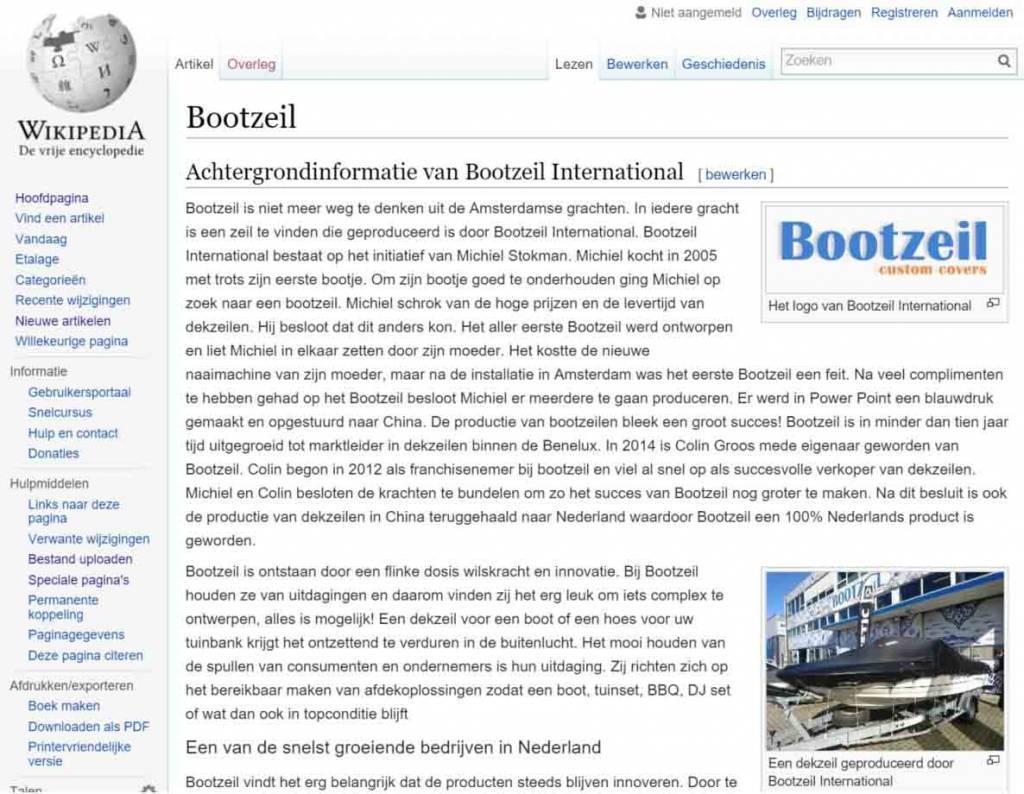 Bootzeil jetzt auch auf Wikipedia
