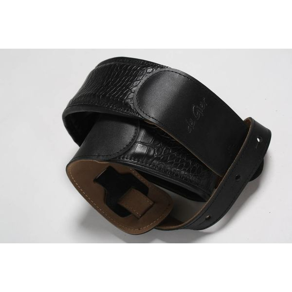 De Gier Guitars strap deluxe black, extra padded  - croc style