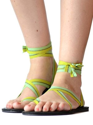 Sandals Green stripes