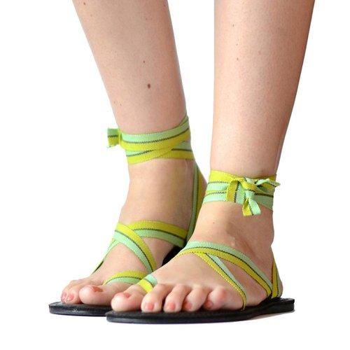 Sandals Green stripes