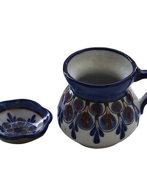 Stoneware mugs and saucer Blue