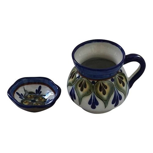 Stoneware mugs and saucer Green