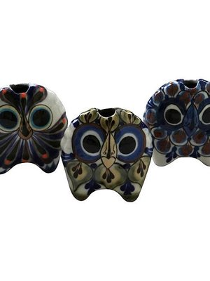 Set of 3 Cute stoneware Owls