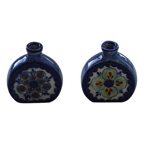 Set of 2 Small stoneware flower vases