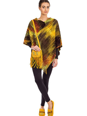 Poncho bamboo chenille Lime Brown