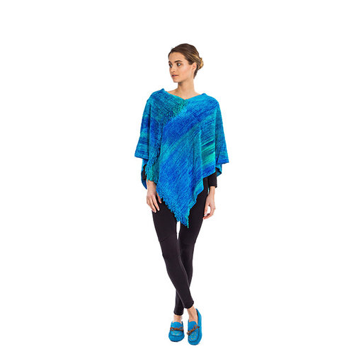 Poncho bamboo chenille Turquoise