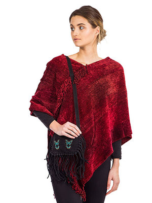 Poncho bamboo Chenille Red