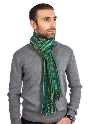 Men scarves Bamboo chenille Green Stripes