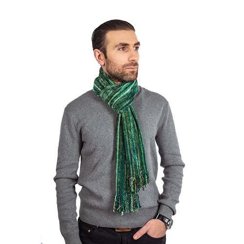 Men scarves Bamboo chenille Green Stripes