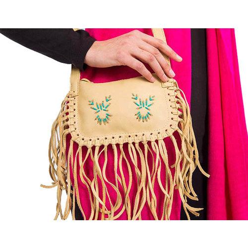 Shoulder bag with fringes crème