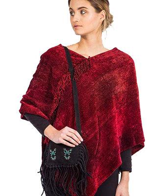 Suede Shoulder bag with fringes Brown