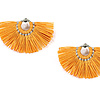 Fan Tassel Earrings Mustard - Fairtrade