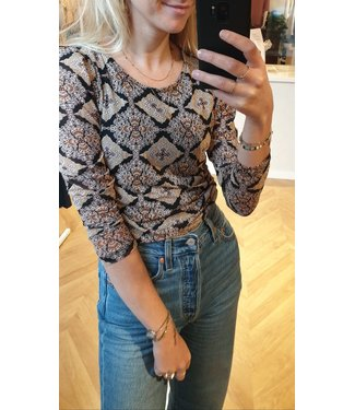 FREEQUENT Freequent - Vida blouse caramel cafe mix