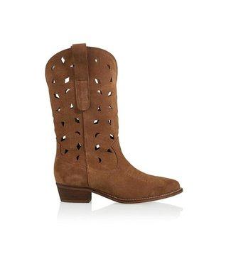 Dwars DWRS - Atlanta suede cowboy cognac boots