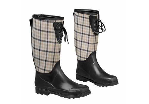 Laura Ashley Tuinlaarzen: Wellingtons Mitford check charcoal biscuit