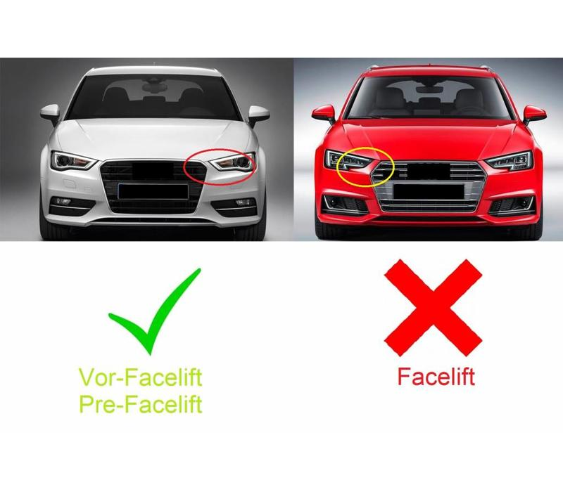 RS3 Look Frontgrill Glans zwart Piano Black Edition voor Audi A3 8V, S-line, S3