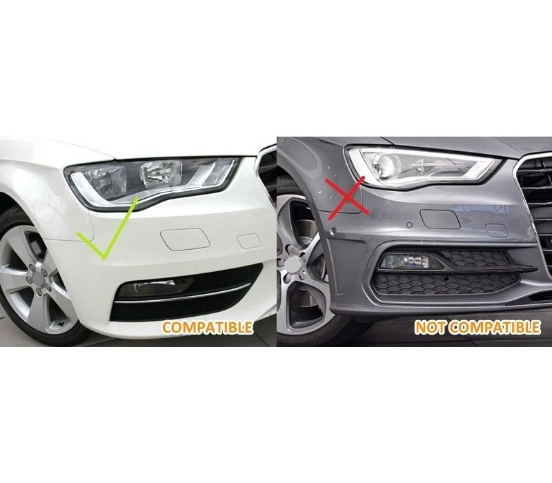 RS3 Look Fog light grille Piano Black Edition for Audi A3 8V