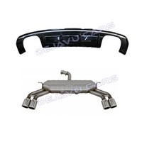 S3 Look Diffuser Black Edition + Exhaust system for Audi A3 8V (Standard rear bumper)