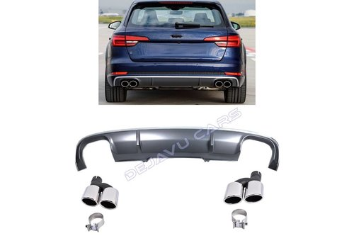 DEJAVU CARS - OEM LINE S4 Look Diffuser + Exhaust tail pipes for Audi A4 B9
