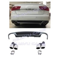 S line Look Diffuser + Exhaust tail pipes for Audi A6 C7 4G