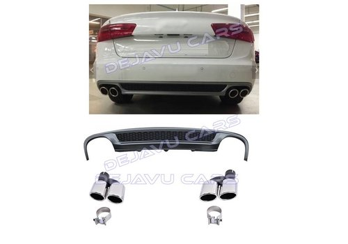 OEM LINE S line Look Diffuser + Exhaust tail pipes for Audi A6 C7 4G